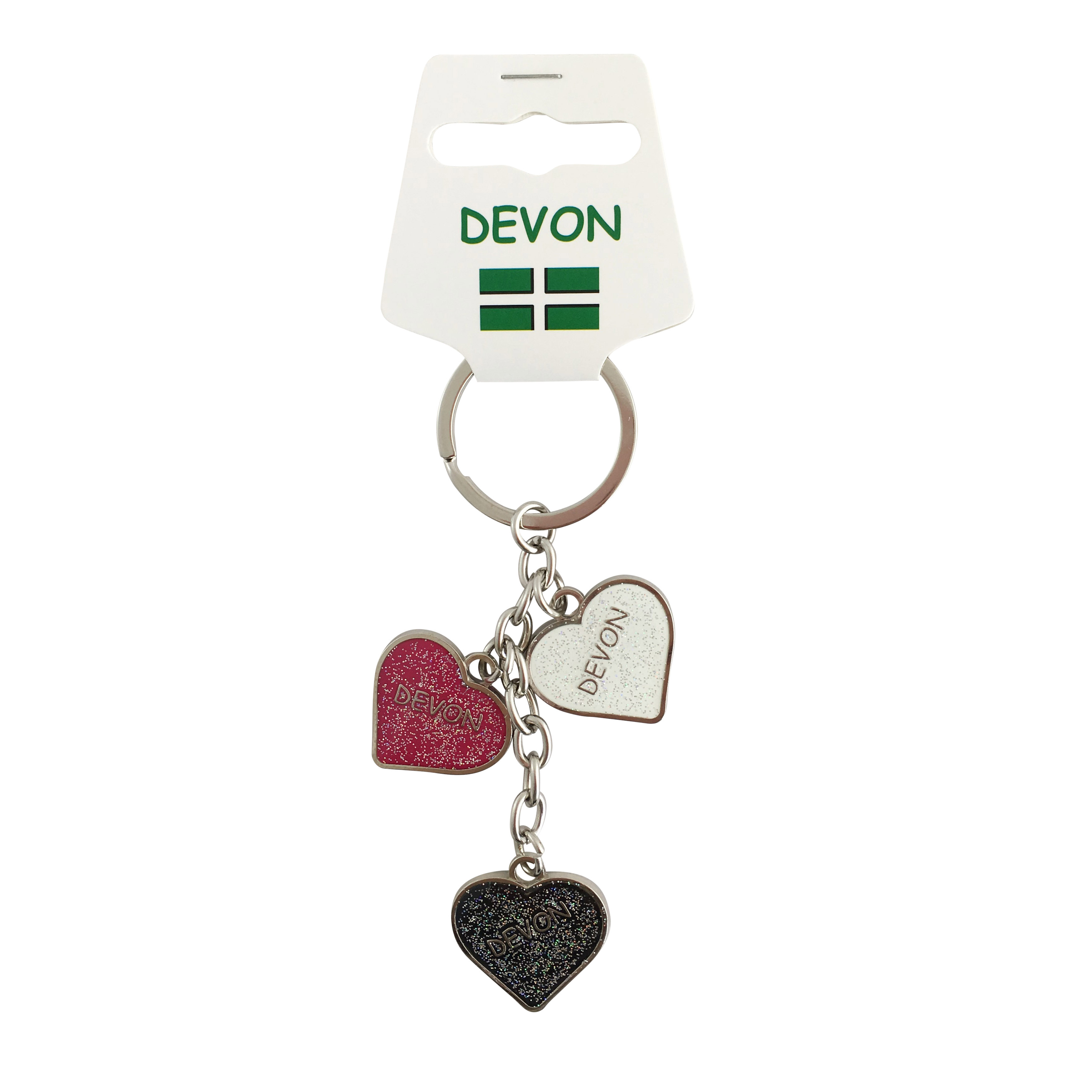 Devon Three Heart Charm Metal Keyring