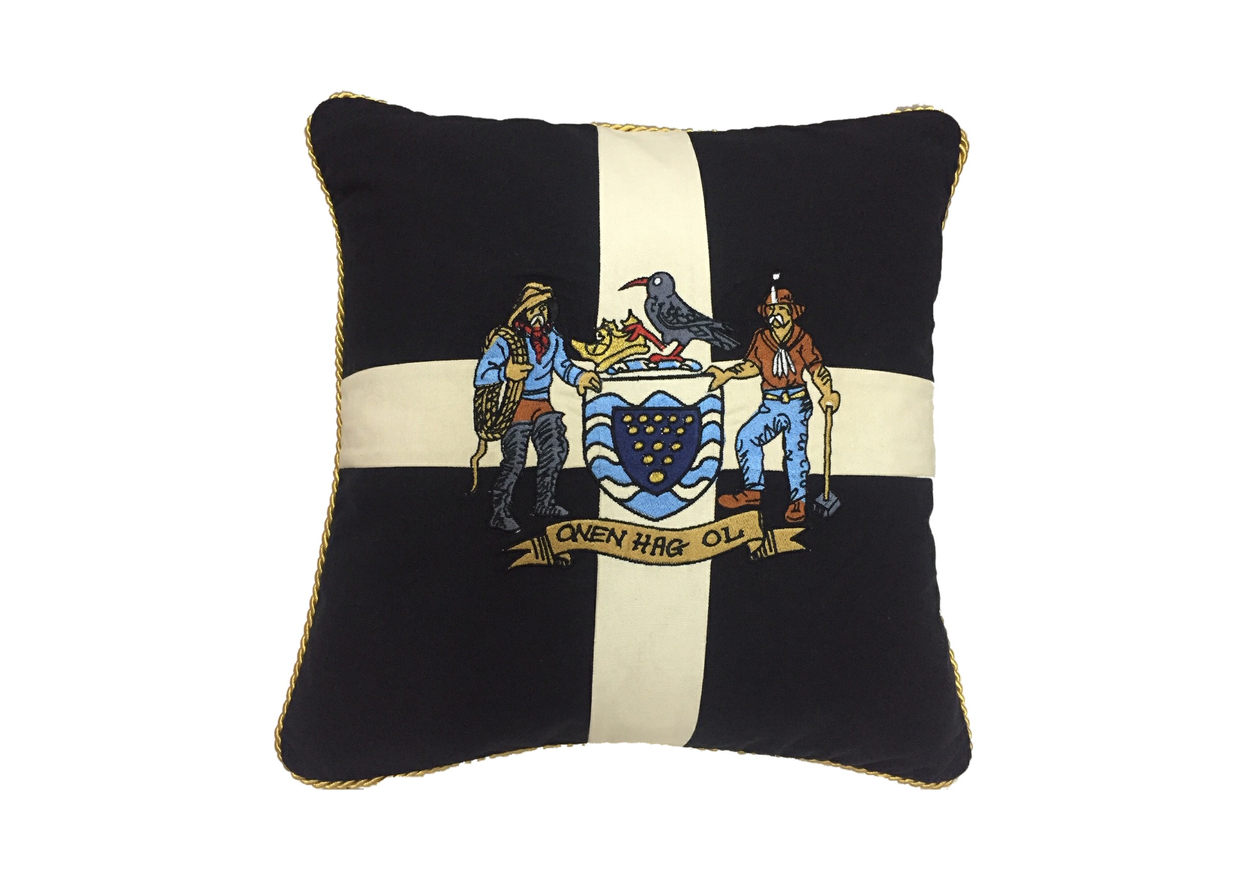 Cornwall Crest Embroidered Cushion 18'' x 18''
